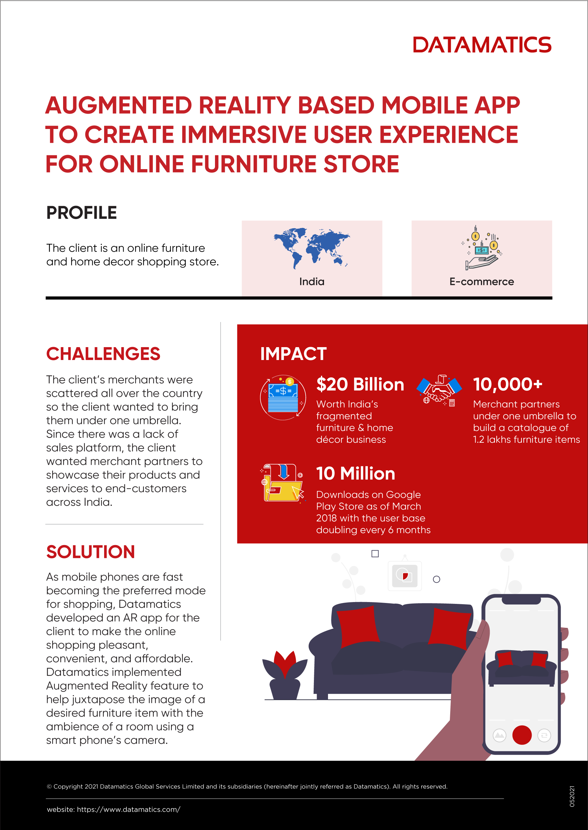 Augmented Reality App for Online Furniture store - Infographic