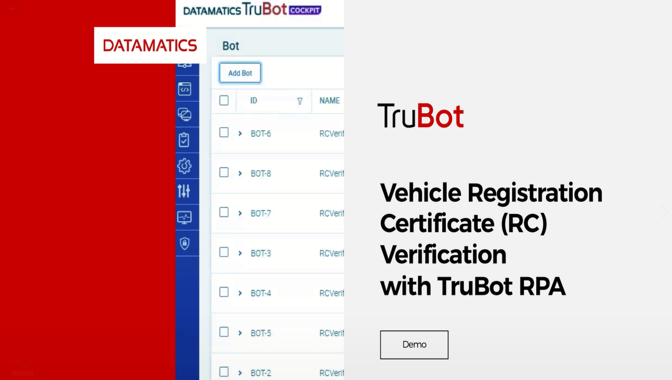 TruBot RPA enabled Vehicle RC Verification