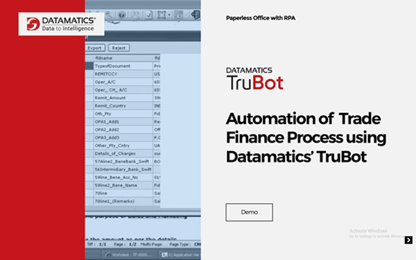 Automation Of Trade Finance Process Using Datamatics' TruBot